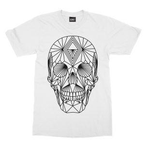 maglietta-bianca-poly-skull-white-t-shirt-stampa-grafica-nera-graphic-print-black