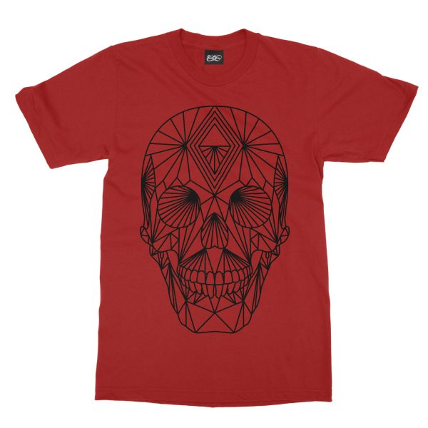 maglietta-rossa-poly-skull-red-t-shirt-stampa-grafica-nera-graphic-print-black