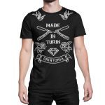 vestita-maglietta-nera-made-in-turin-old-school-tattoo-black-t-shirt-stampa-grafica-bianca-graphic-print-white