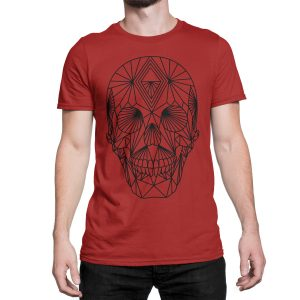 vestita-maglietta-rossa-poly-skull-red-t-shirt-stampa-grafica-nera-graphic-print-black