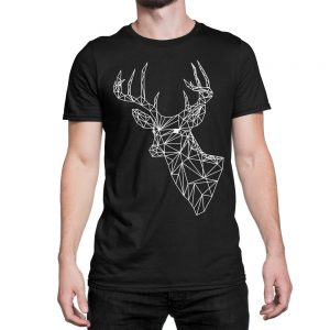 vestita-maglietta-nera-poly-deer-black-t-shirt-stampa-grafica-bianca-graphic-print-white