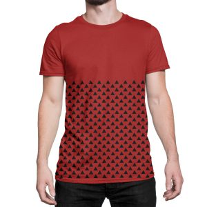 vestita-maglietta-rossa-pattern-triangle-red-t-shirt-stampa-grafica-nera-graphic-print-black