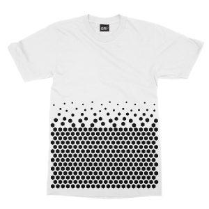 maglietta-bianca-pattern-hexagon-white-t-shirt-stampa-grafica-nera-graphic-print-black