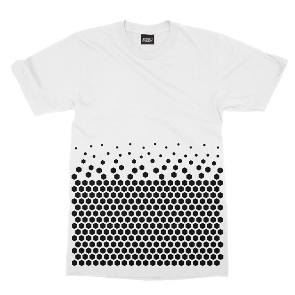 maglietta-bianca-pattern-hexagon-white-t-shirt-stampa-grafica-nera-graphic-print-black