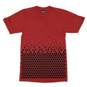 maglietta-rossa-pattern-hexagon-red-t-shirt-stampa-grafica-nera-graphic-print-black
