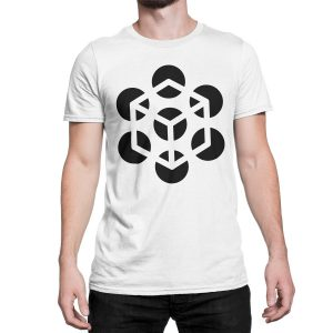 vestita-maglietta-bianca-illusion-cube-white-t-shirt-stampa-grafica-nera-graphic-print-black