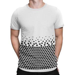 vestita-maglietta-bianca-pattern-hexagon-white-t-shirt-stampa-grafica-nera-graphic-print-black