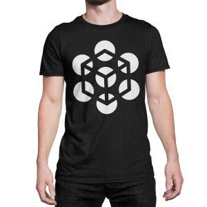 vestita-maglietta-nera-illusion-cube-black-t-shirt-stampa-grafica-bianca-graphic-print-white