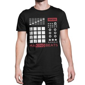 vestita-maglietta-nera-making-beats-t-shirt-stampa-grafica-bianca-rossa-graphic-print-white-red
