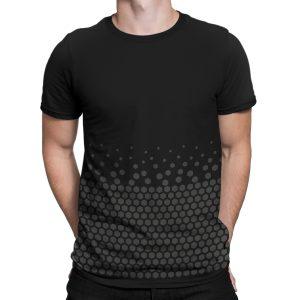 vestita-maglietta-nera-pattern-hexagon-black-t-shirt-stampa-grafica-nera-graphic-print-black