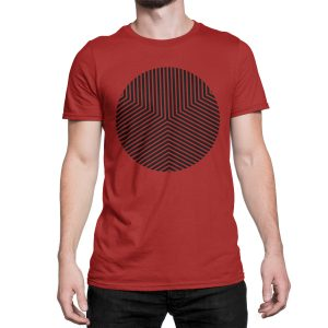 vestita-maglietta-rossa-circle-edge-red-t-shirt-stampa-grafica-nera-graphic-print-black