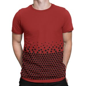 vestita-maglietta-rossa-pattern-hexagon-red-t-shirt-stampa-grafica-nera-graphic-print-black