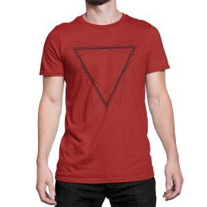 vestita-maglietta-rossa-triangle-red-t-shirt-stampa-grafica-nera-graphic-print-black